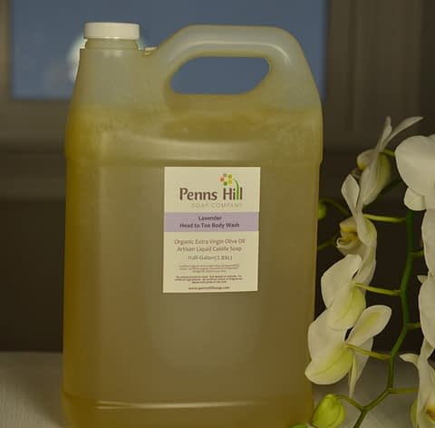 liquid organic olive oil soap with lavender essential oil